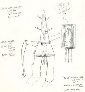 Pencil: sculpture sketch w/ notes